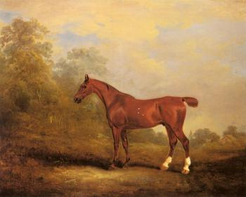 John Ferneley : Cecil, a favorite Hunter of the Earl of Jersey in a Landscap